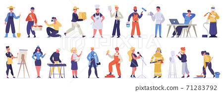 Different professions and occupations. Professional workers in uniform, doctor, teacher, chef and IT-specialist. Labor day vector illustration set 71283792