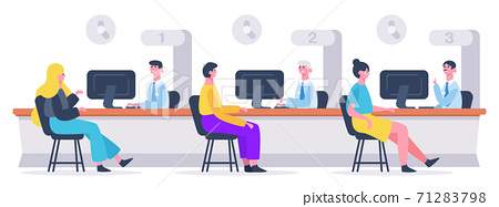 Bank customer service. Clients and financial consultants, customers getting financial agreement. Bank credit department vector illustration 71283798