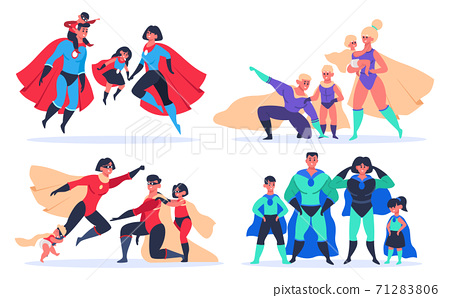 Superhero families. Wonder dad, mom and kids, superheroes characters in superhero mask and cloak costumes isolated vector illustration set 71283806