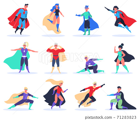 Female and male superheroes. Powerful superhero characters, brave superman and superwoman in superheroes costume with cloak vector illustration set 71283823