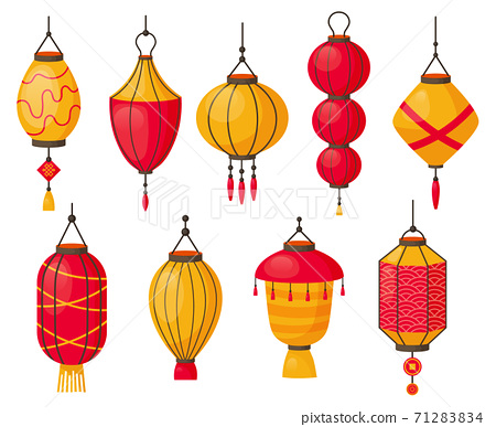 Asian lanterns. Chinese traditional red paper lamps, japanese or chinese street decoration. Oriental festival lanterns isolated vector symbols 71283834