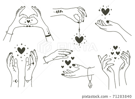 Magic hands with hearts. Boho linear style mystical hand, hand drawn arms with magic heart. Magical hands keep hearts vector symbols set 71283840