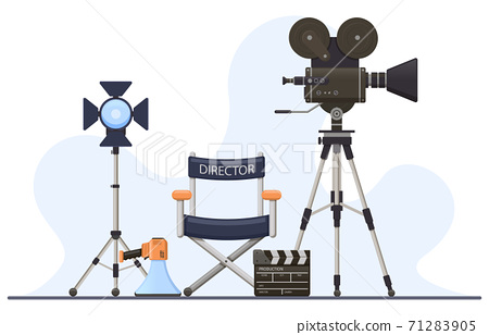 Director film sets. Movie camera, director chair, megaphone and clapperboard, film director cinema concept. Film production vector illustration 71283905