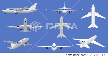 Airplane flight. Aircraft plane in front, side and top view, passenger plane or cargo service aircraft. Flying airplane isolated vector illustrations 71283913