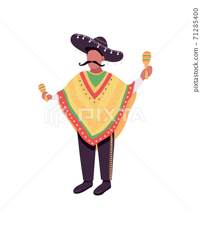 Mexican musician with maracas flat color vector faceless character 71285400