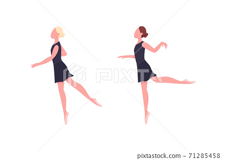 Practicing ballerina flat color vector faceless character set 71285458