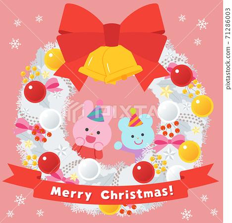 白色聖誕花環/兔子和老鼠 71286003