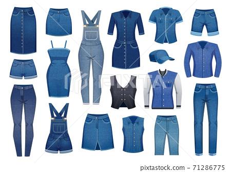 Denim Clothing Icons Set 71286775