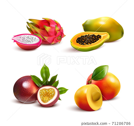 Mature Tropical Fruits Set 71286786