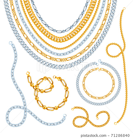Golden And Silver Chains Set 71286840