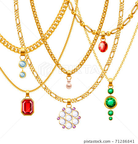 Golden Chains With Pendants Set 71286841