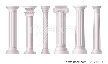 Antique White Columns Realistic Icon Set 71286846