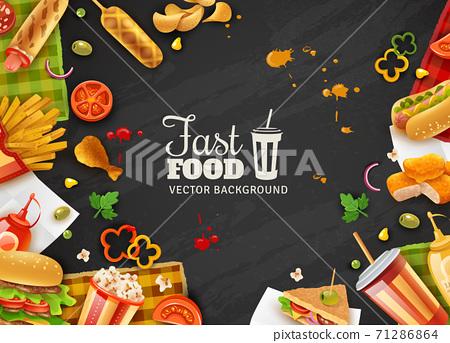 Fast Food Black Background Poster 71286864