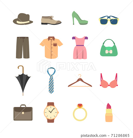 Fashion and clothes accessories icons 71286865