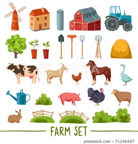 Farm multicolored icon set 71286887