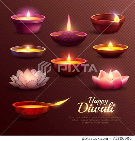 Diwali Celebration Icons Set 71286900