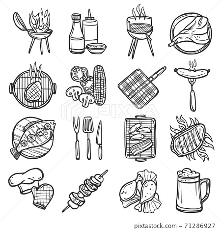 Bbq Grill Icons Set 71286927