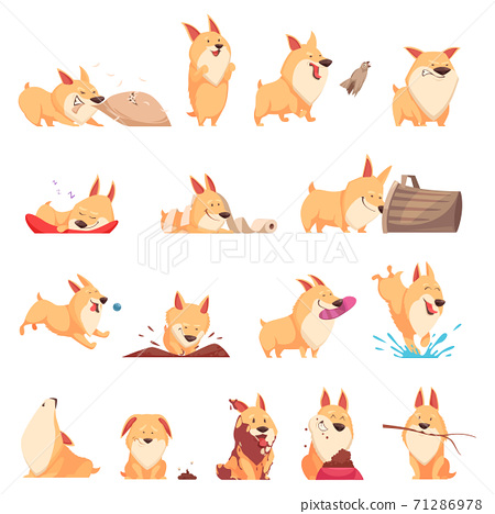 Cartoon Cute Puppy Set 71286978