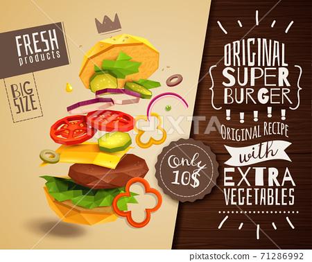 3D Hamburger Horizontal Poster 71286992