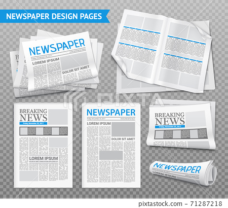 Realistic Newspaper Transparent Set 71287218