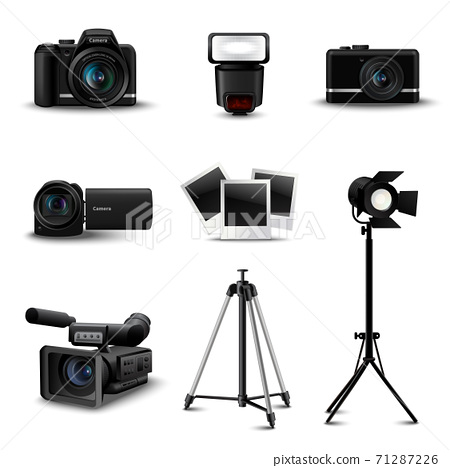 Realistic Camera Icons 71287226