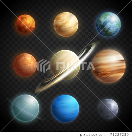 Planets Realistic Transparent Set 71287239