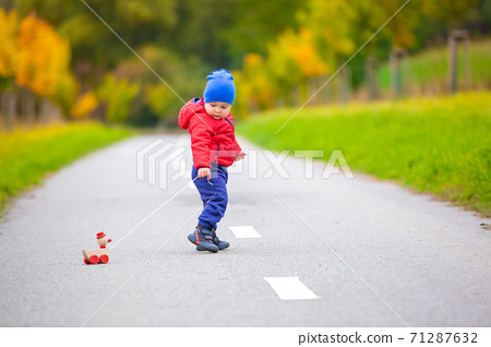 Lovely kid with wooden toy or duckling on a string in outside 71287632
