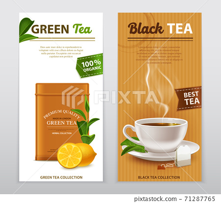 Tea Realistic Advertisement Banners Set 71287765