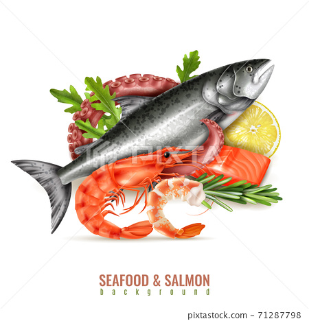 Seafood Salmon Realistic Composition 71287798