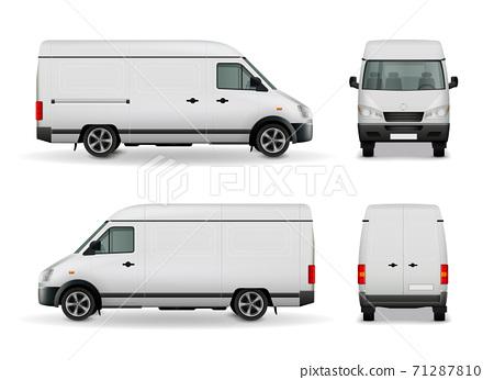Realistic Cargo Van Advertising Mockup 71287810