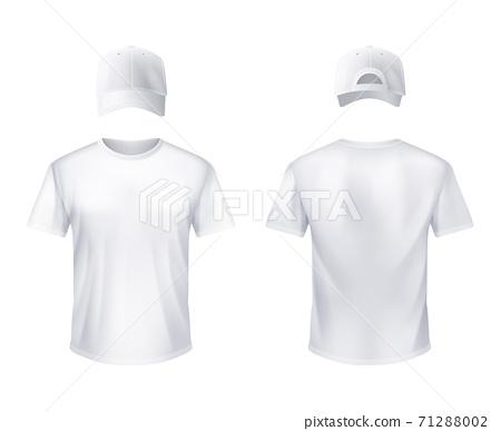 WhiteT-shirtt Baseball Cap Man Realistic 71288002