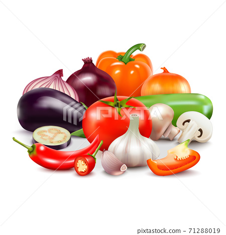 Vegetables Composition On White Background 71288019
