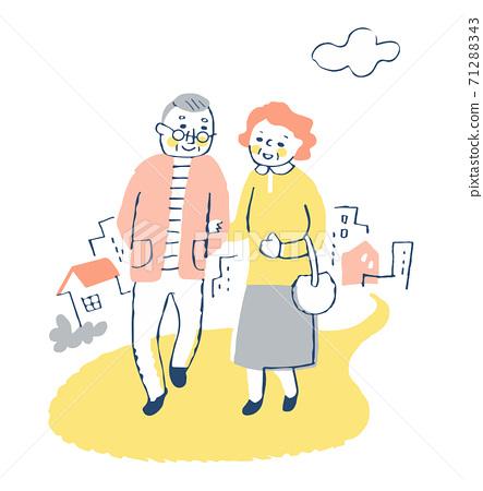 산책을 즐기는 노인 부부 71288343
