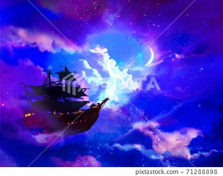 漂浮在夜空中月亮月亮照耀的飞艇的幻想背景 图库插图 7128