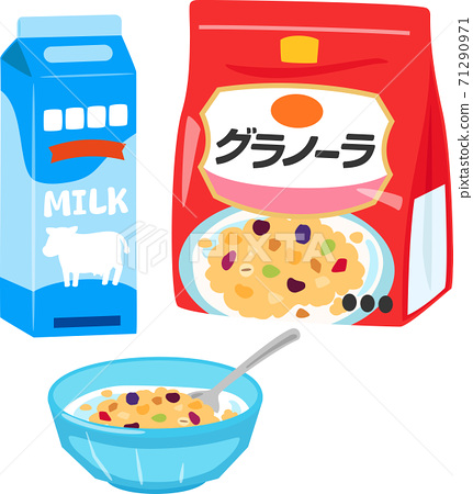 格蘭諾拉麥片和一碗牛奶 71290971