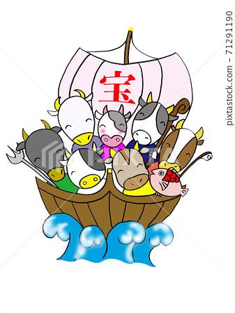 Seven Lucky Gods of cows on a treasure ship 71291190