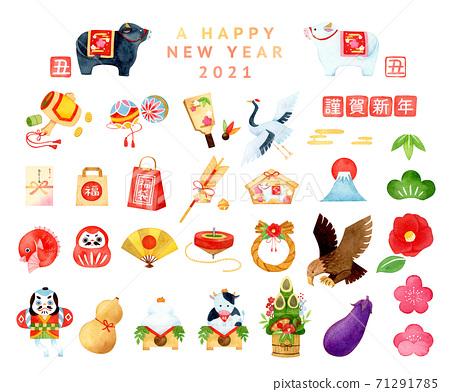 손으로 그린 수채화   설날 2021 년 소띠 일러스트 세트 71291785