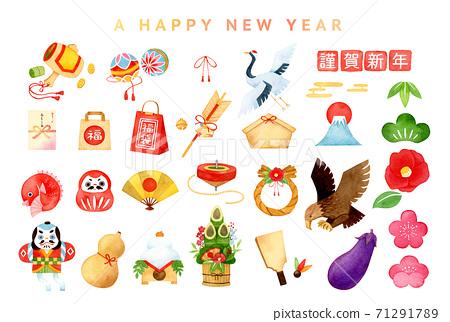 手繪水彩|新年賀卡插圖集 71291789