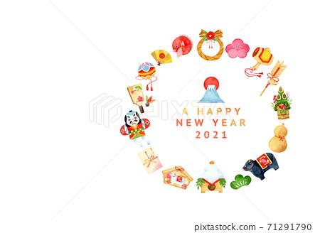 손으로 그린 수채화 | 설날 2021 년 소띠 연하장 일러스트 세트 71291790