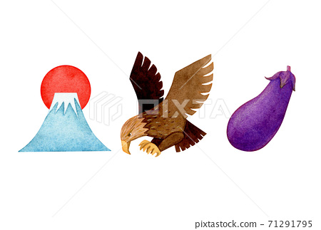 Hand-painted watercolor | Mt. Fuji hawk eggplant illustration 71291795