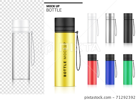 Transparent Bottle 3D Mock up Realistic Plastic Shaker in Vector for Water and Drink. Bicycle and Sport Concept Design. 71292392