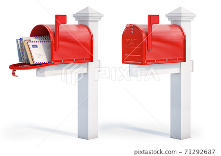 Open and closed mailbox with letters isolated on white background. 71292687