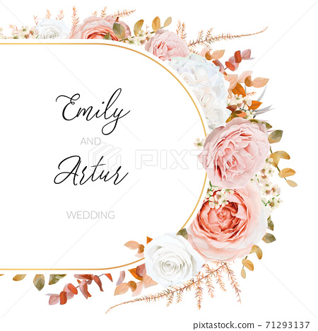 Vector floral autumn winter wedding invite card design. Lush fall leaves, blush peach, pink and ivory rose garden flowers bouquet decorative watercolor style frame. Stylish, delicate editable template 71293137