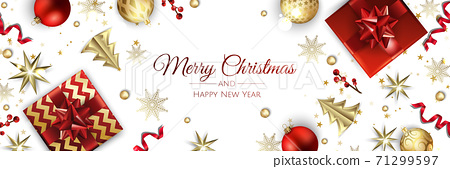 Christmas banner. Background Xmas objects viewed from above. BackgroundMerry Christmas and happy New Year 71299597