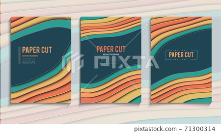 Paper cut cover vector illustration. Cartoon style template. EPS 10. 71300314