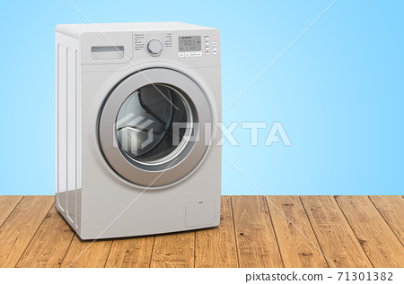 Washing machine on the wooden planks, 3D rendering 71301382