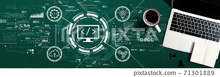 Web development concept with a laptop computer 71301889