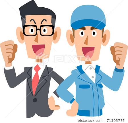 一個男人的上半身穿著一套西裝,背對著背,一個男人穿著藍色工作服 71303775