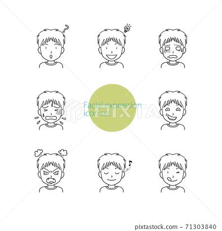 一組帶有各種表情的男孩的簡單圖標 71303840