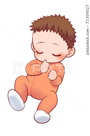 熟睡的嬰兒的插圖 71304027